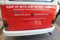 Gus the Bus outside FMI's offices in Umhlanga.